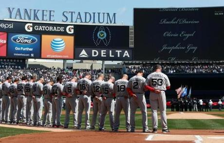 Both teams observed a moment of silence for victims of the Newtown tragedy before the first pitch.
